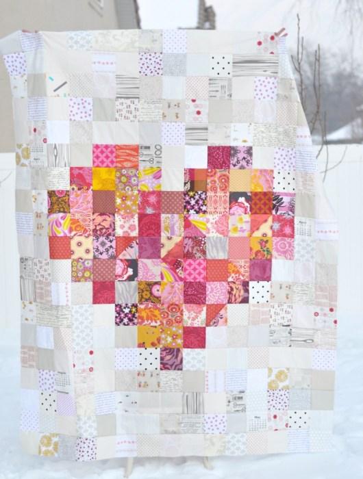 Pixilated heart quilt