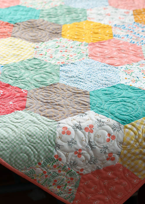 Vintage inspired Hexagon baby quilt by Amy Smart