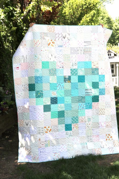 Pixelated Heart Low Volume Quilt