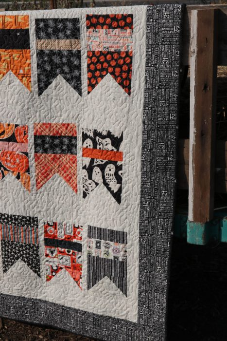 Halloween bunting quilt - made with Amy Smart's Summer Bunting quilt pattern - Diary of a Quilter. Halloween Fabrics by Riley Blake Designs