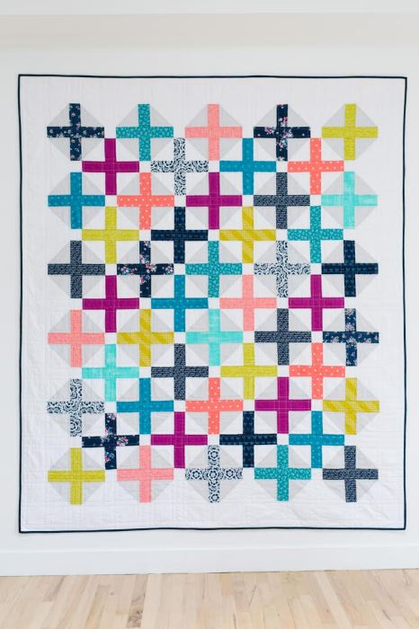 Half Square Triangle Short Cuts featured by top US quilting blog, Diary of a Quilter: Amy Smart Hopscotch Quilt Pattern - made by Katie Blakesly for Pattern Drop