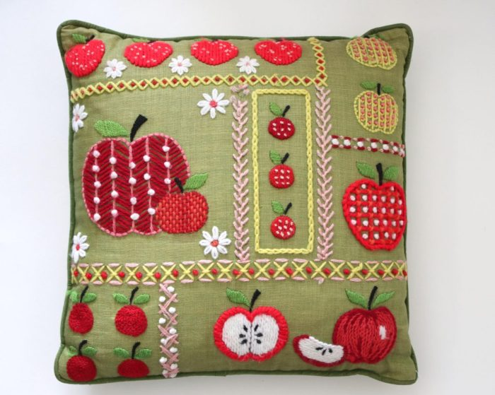 Vintage Yarn Crewel embroidery apple pillow