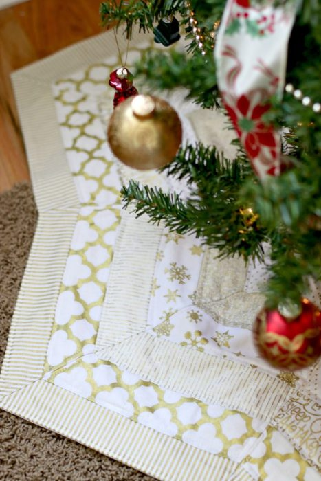 Green and White Stripe Quilted Christmas Tree Skirt