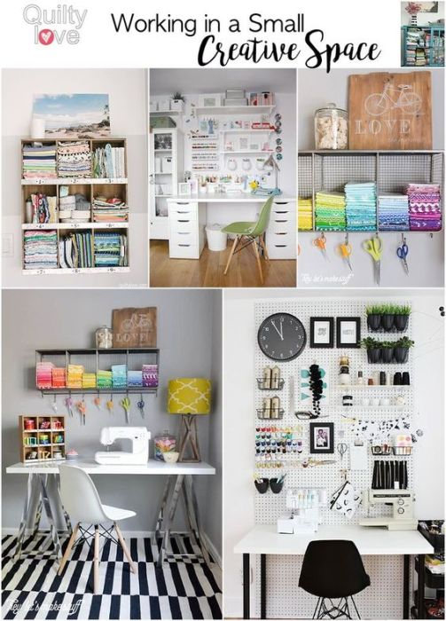 Organization ideas for working in a Small Creative Space by Emily of Quilty Love