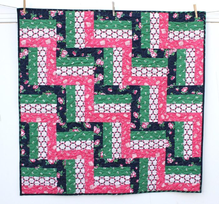 Strip-pieced Rail Fence Baby Quilt tutorial
