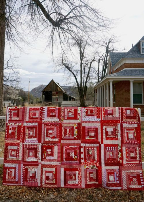 scrap-buster red log cabin Quilt