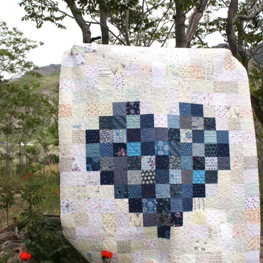 Navy Pixelated Heart Quilt by Amy Smart