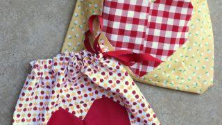 Easy Heart Lined Drawstring Bag Tutorial