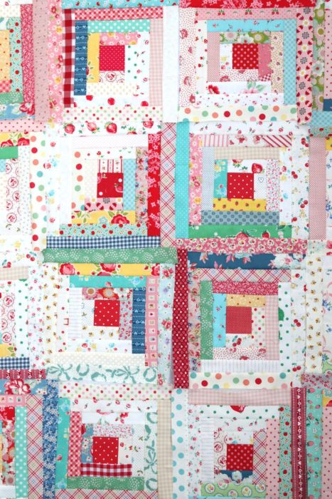 Retro Log Cabin Quilt blocks with Vintage reproduction fabrics by Amy Smart