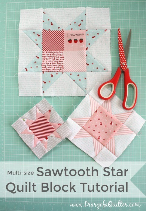 Multi-size Sawtooth Star Quilt Block tutorial