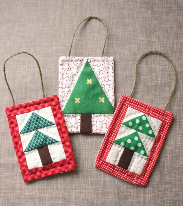 Handmade Christmas Ornament Ideas by popular Utah quilting blog, Diary of a Quilter: image of quilted patchwork Christmas tree ornaments.