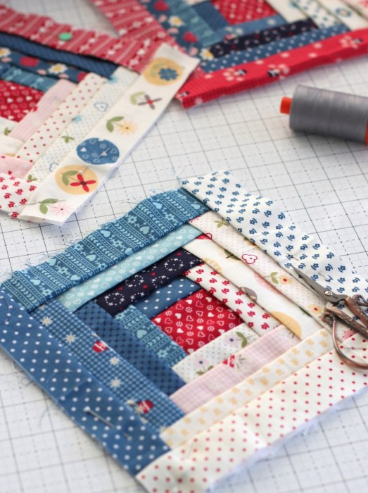How to make a Manx piece-as-you-go log cabin quilt block | A Year in Review: Looking back at 2019 + Looking forward to 2020 by popular Utah quilting blog: image of a Manx quilt block.