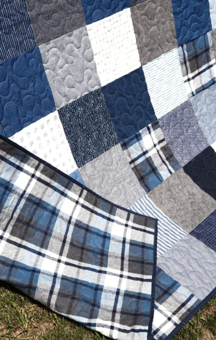 Denim Patchwork Quilt featured by top US quilting blog Diary of a Quilter