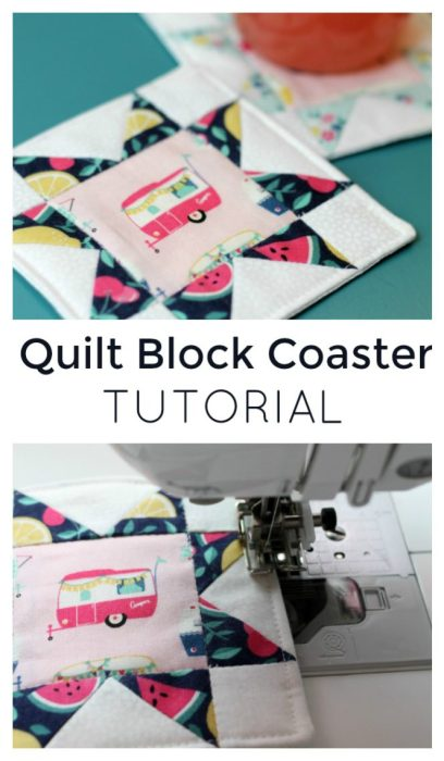 Quilt Block Coaster featured by top US quilting blog Diary of a Quilter