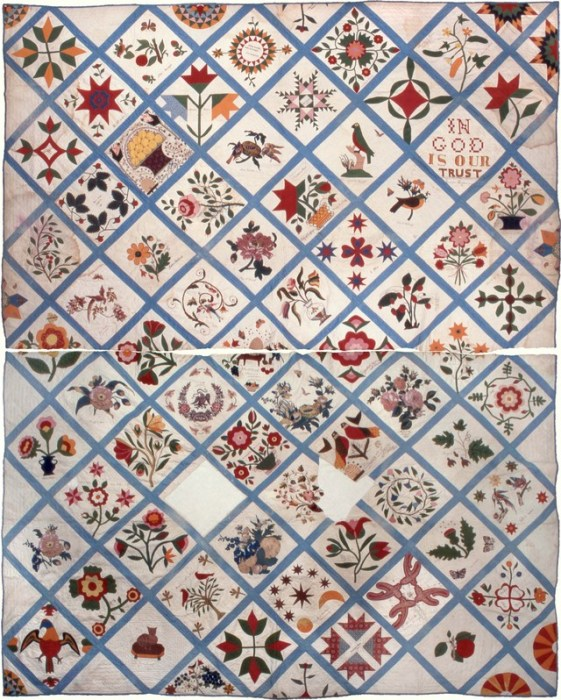 The Tale of a Pioneer Quilt, Cut in Two by popular quilting blog, Diary of a Quilter: image of a hand stitched block quilt.
