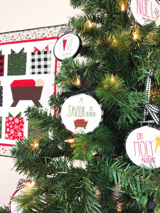 Handmade Christmas Ornament Ideas by popular Utah quilting blog, Diary of a Quilter: image of cross stitch ornaments on a tree.