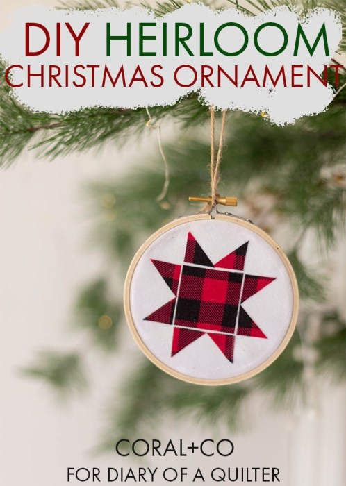 Handmade Christmas Ornament Ideas by popular Utah quilting blog, Diary of a Quilter: image of a hoop ornament.