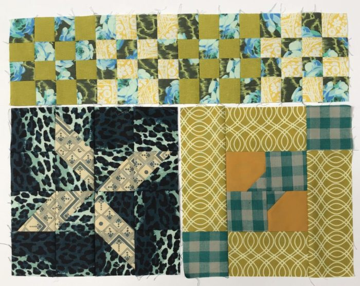 Inspiration from Modern Quilt Shop, Quilt Sandwich Fabrics by popular US quilting blog, Diary of a Quilter: image of green and blue toned quilt blocks.