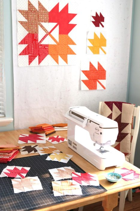 """https://www.diaryofaquilter.com/"""" width=""""467"""" height=""""700"""" srcset=""""https://i2.wp.com/www.diaryofaquilter.com/wp-content/uploads/2019/09/How-to-make-Maple-Leaf-Quilt-blocks.jpg?resize=467%2C700&ssl=1 467w, https://i2.wp.com/www.diaryofaquilter.com/wp-content/uploads/2019/09/How-to-make-Maple-Leaf-Quilt-blocks.jpg?resize=200%2C300&ssl=1 200w, https://i2.wp.com/www.diaryofaquilter.com/wp-content/uploads/2019/09/How-to-make-Maple-Leaf-Quilt-blocks.jpg?resize=768%2C1152&ssl=1 768w, https://i2.wp.com/www.diaryofaquilter.com/wp-content/uploads/2019/09/How-to-make-Maple-Leaf-Quilt-blocks.jpg?resize=1140%2C1710&ssl=1 1140w, https://i2.wp.com/www.diaryofaquilter.com/wp-content/uploads/2019/09/How-to-make-Maple-Leaf-Quilt-blocks.jpg?resize=735%2C1103&ssl=1 735w, https://i2.wp.com/www.diaryofaquilter.com/wp-content/uploads/2019/09/How-to-make-Maple-Leaf-Quilt-blocks.jpg?w=760&ssl=1 760w"""" sizes=""""(max-width: 467px) 100vw, 467px"""" data-jpibfi-post-excerpt=""""https://www.diaryofaquilter.com/"""" data-jpibfi-post-url=""""https://www.diaryofaquilter.com/2019/09/classic-maple-leaf-quilt-block-tutorial.html"""" data-jpibfi-post-title=""""Classic Maple Leaf Quilt Block Tutorial"""" data-jpibfi-src=""""https://i2.wp.com/www.diaryofaquilter.com/wp-content/uploads/2019/09/How-to-make-Maple-Leaf-Quilt-blocks.jpg?resize=467%2C700&ssl=1"""" data-recalc-dims=""""1""""/></noscript></p> <p>I've had fun making a bunch of them. I originally planned to sew these 6″ x 6″ blocks together to make a pillow, but now I'm starting to think it might be fun to combine all three-sized blocks together to make a throw quilt. We'll see where this goes!</p> <p><img alt="""