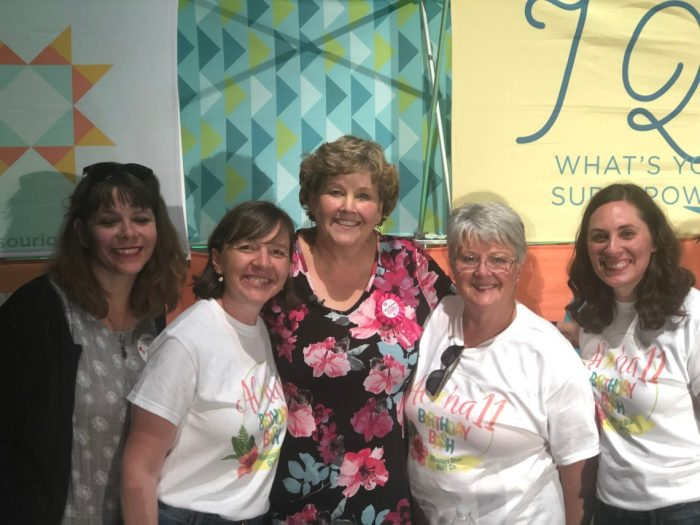 Birthday Bash at Missouri Star Quilt Company by popular quilting blog, Diary of a Quilter: image of group of women standing together.