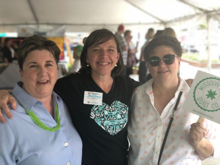 Birthday Bash at Missouri Star Quilt Company by popular quilting blog, Diary of a Quilter: image of three women standing together.