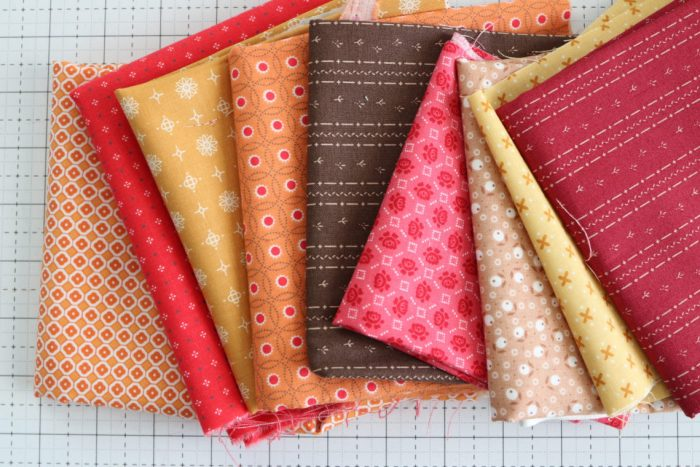 Classic Maple Leaf Quilt Block Tutorial by popular Utah quilting blog, Diary of a Quilter: image of Lori Holt fabric, Granny Chic collection, and the Calico Crow collection.