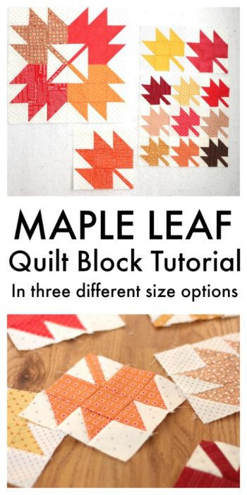 Classic Maple Leaf Quilt Block Tutorial by popular Utah quilting blog, Diary of a Quilter: pinterest image of maple leaf quilt block tutorial.