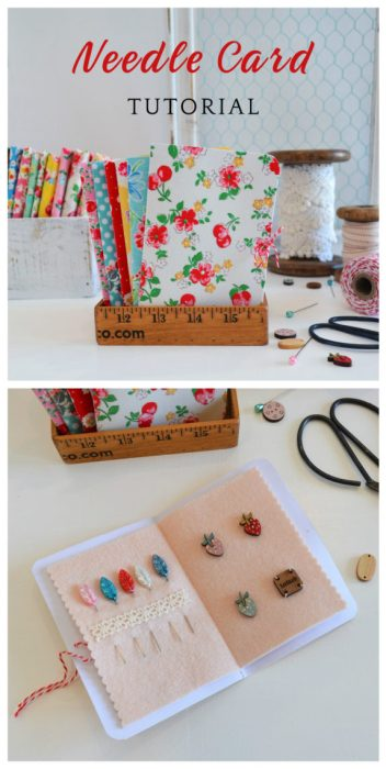 Retro-inspired Fabric-covered needle book tutorial | Fabric Covered Needle Cards - guest post by Sedef Imer by popular quilting blog, Diary of a Quilter: image of fabric covered needle cards books.