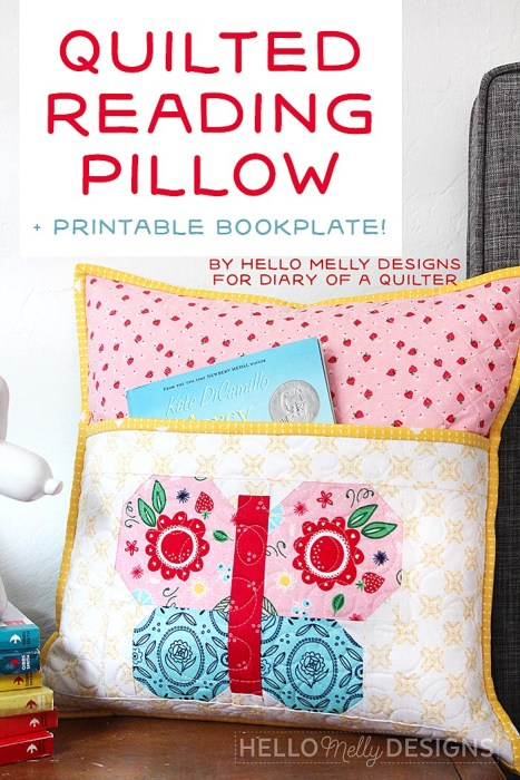 Quilted Butterfly Reading Pillow by Guest Host Melanie Collette by popular quilting blog, Diary of a Quilter: image of a butterfly reading pillow.