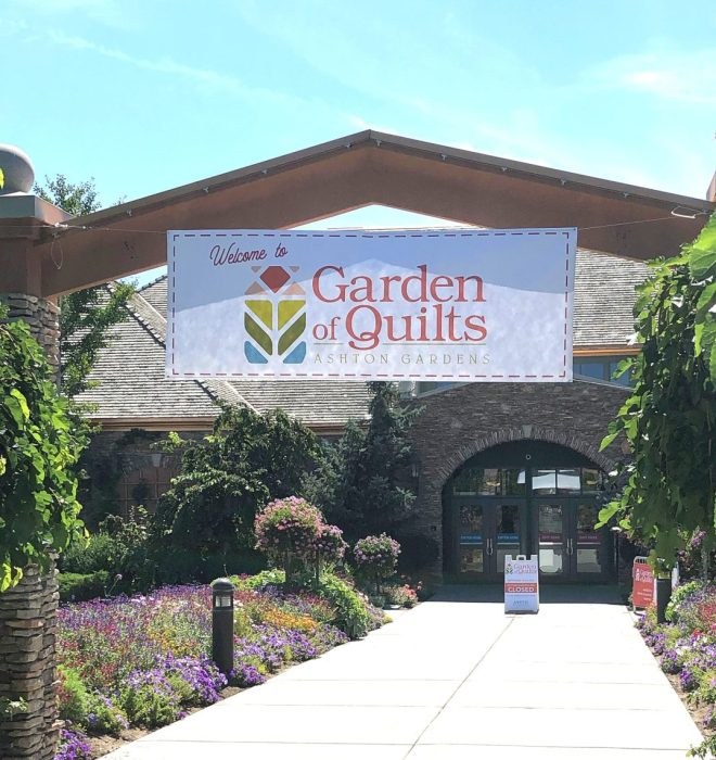 Garden of Quilts 2019 - Thanksgiving Point, Utah by popular quilting blog, Diary of a Quilter: image of Ashton Gardens main entrance.