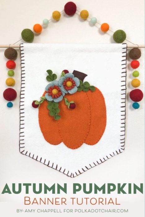 Autumn Pumpkin wool banner tutorial