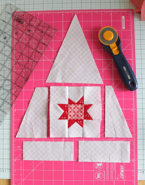 Pine Hollow Quilt Along Week 5 by popular quilting blog, Diary of a Quilter: image of a large quilting blocks pieced together to make a tree.