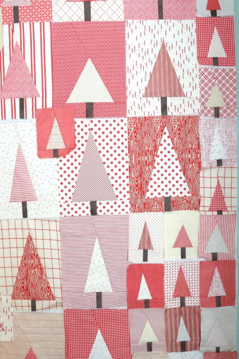 Red and White Improve Tree Quilt blocks   Pine Hollow Patchwork Forest Quilt Along Week 4 by popular Utah quilting blog, Diary of a Quilter: image of red and white improve tree quilt blocks.