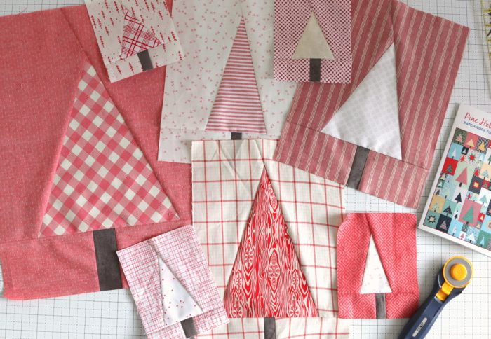 Pine Hollow Quilt Along Week 5 by popular quilting blog, Diary of a Quilter: image of large tree quilting blocks.