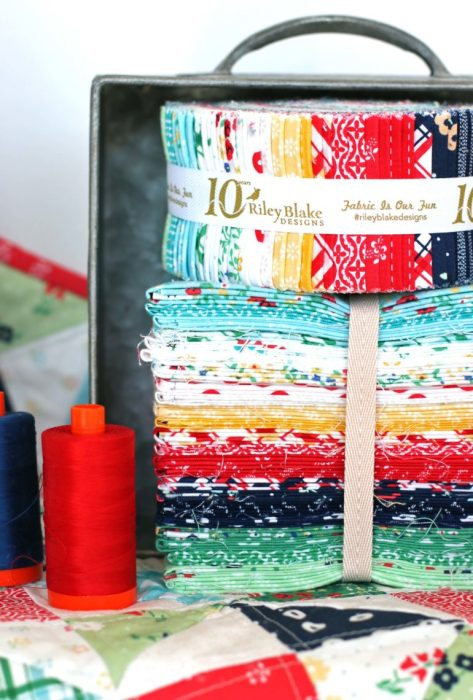 Sugarhouse Park Fabric Collection by Amy Smart by popular Utah quilting blog, Diary of a Quilter: image of a Sugarhouse Park fat quarter bundle and jelly roll.