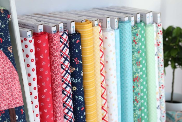 Sugarhouse Park Fabric Collection by Amy Smart by popular Utah quilting blog, Diary of a Quilter: image of bolts of Sugarhouse Park fabric.