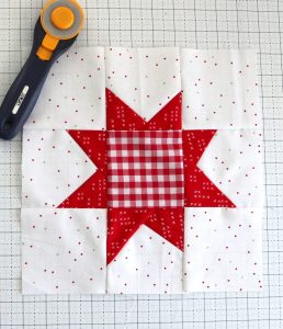 Red and White Wonky Star Quilt block