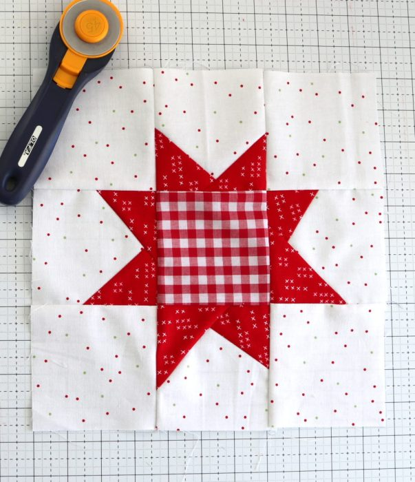 Red and White Wonky Star Quilt block | Pine Hollow Patchwork Forest Quilt Along Week 4 by popular Utah quilting blog, Diary of a Quilter: image of a wonky star quilt block.