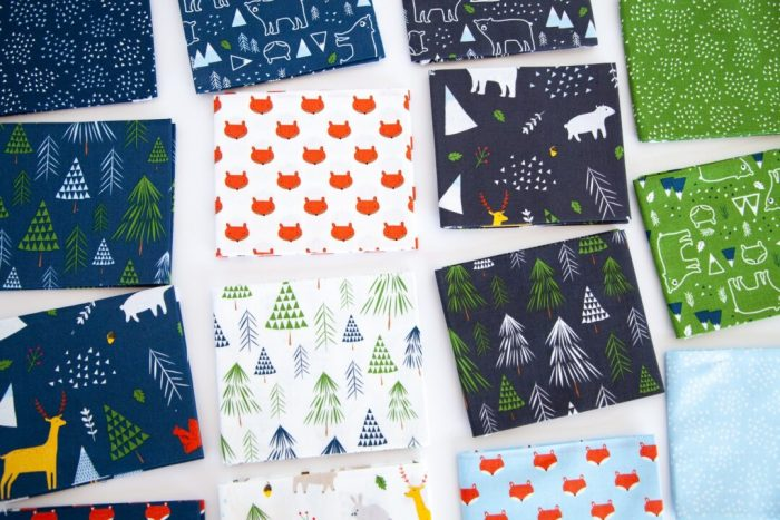 Snow-capped Mountain Quilt Block Tutorial by popular Utah quilting blog, Diary of a Quilter: image of various fabric squares from The Forest Fabric line.