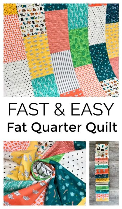 """Fast & Easy Fat Quarter Quilt"" Free Charity Quilt Pattern designed by Kaitlyn of Knot and Thread Design from Diary of a Quilter"