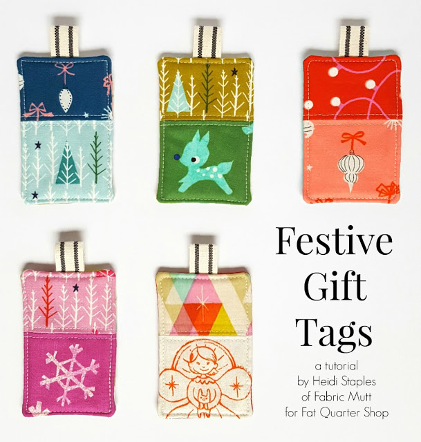 Handmade Christmas Ornament Ideas by popular Utah quilting blog, Diary of a Quilter: image of fabric gift tags.