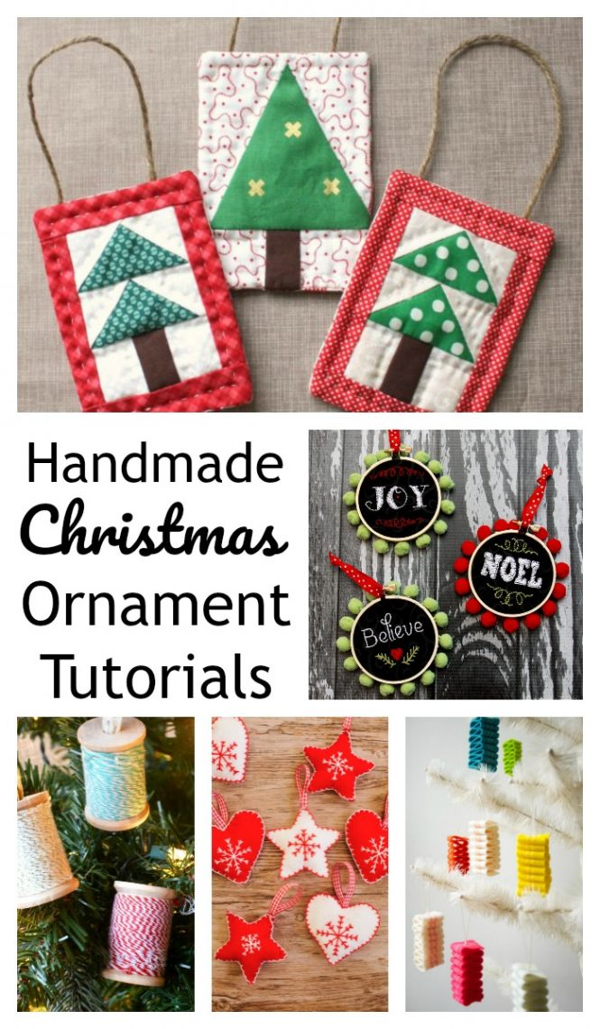 Handmade Christmas Ornament Ideas by popular Utah quilting blog, Diary of a Quilter: collage image of handmade Christmas ornaments.