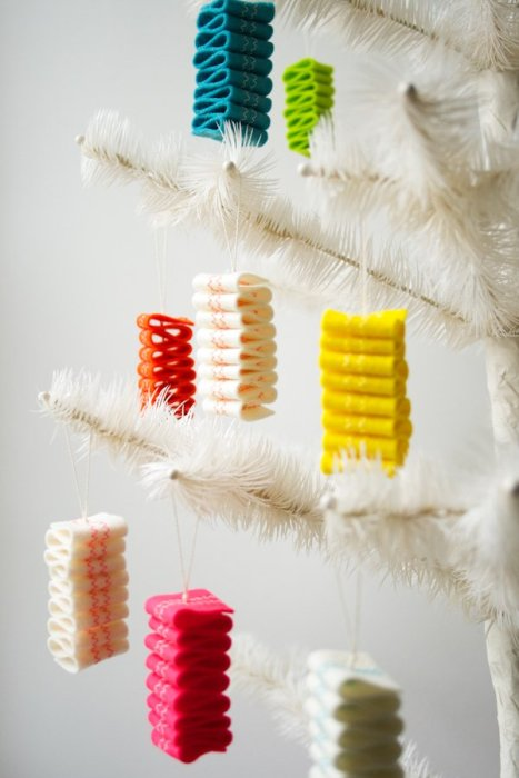 Handmade Christmas Ornament Ideas by popular Utah quilting blog, Diary of a Quilter: image of ribbon candy ornaments.
