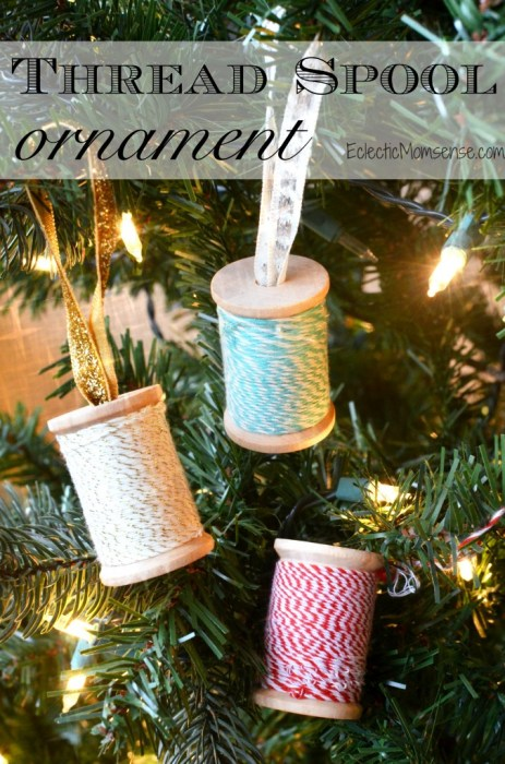 Handmade Christmas Ornament Ideas by popular Utah quilting blog, Diary of a Quilter: image of thread spool ornaments.