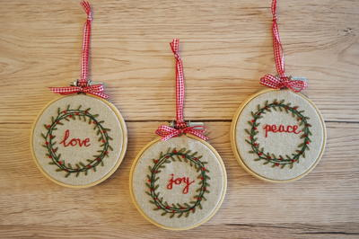 Handmade Christmas Ornament Ideas by popular Utah quilting blog, Diary of a Quilter: image of cross stitch ornaments.