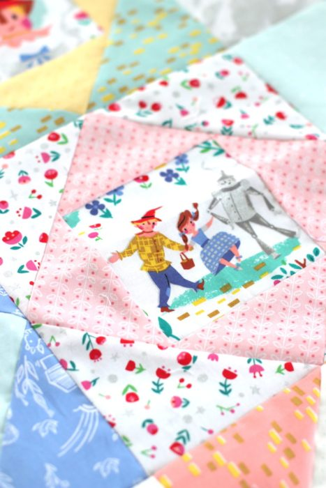 Fussy cut Dorothy's Journey fabric for Economy Blocks