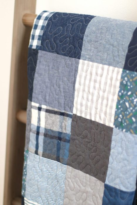 Quilted baby blanket for Boys or Girl Patchwork style Baby Quilt for Baby