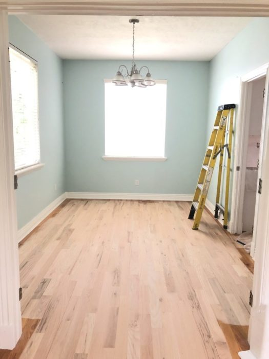 Empty Sewing Room - Wall color Tidewater by Sherwin Williams