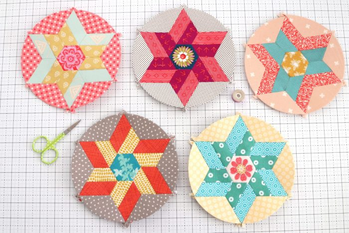 Round We Go English Paper Piecing blocks by Sue Daley
