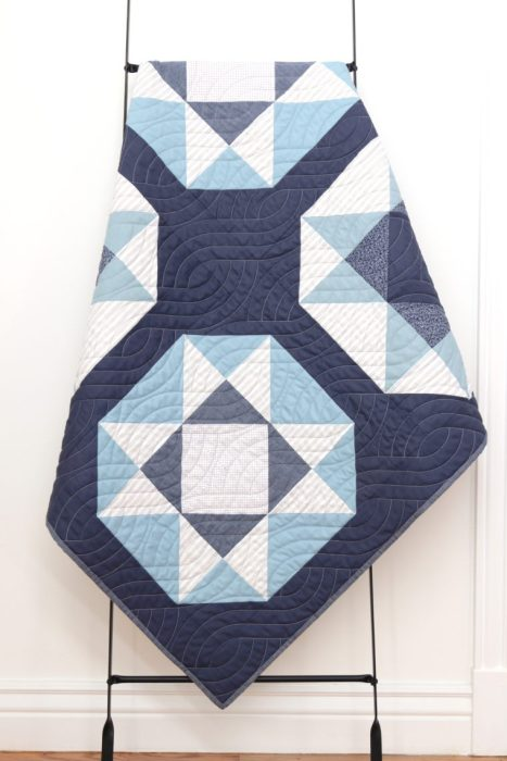 Blue and gray baby boy quilt - Lucky Star pattern from Fresh Fat-Quarter Quilts by Andy Knowlton